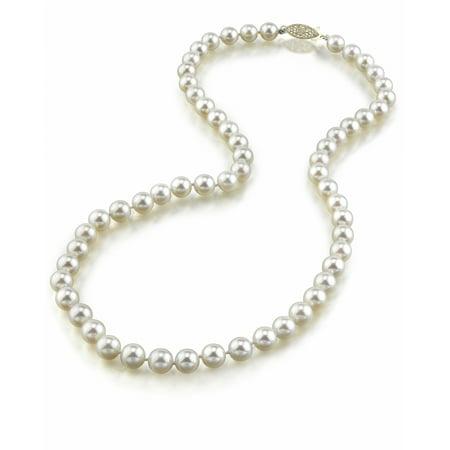 14K Gold 6.0-6.5mm Hanadama Japanese Akoya Saltwater White Cultured Pearl Necklace, 17