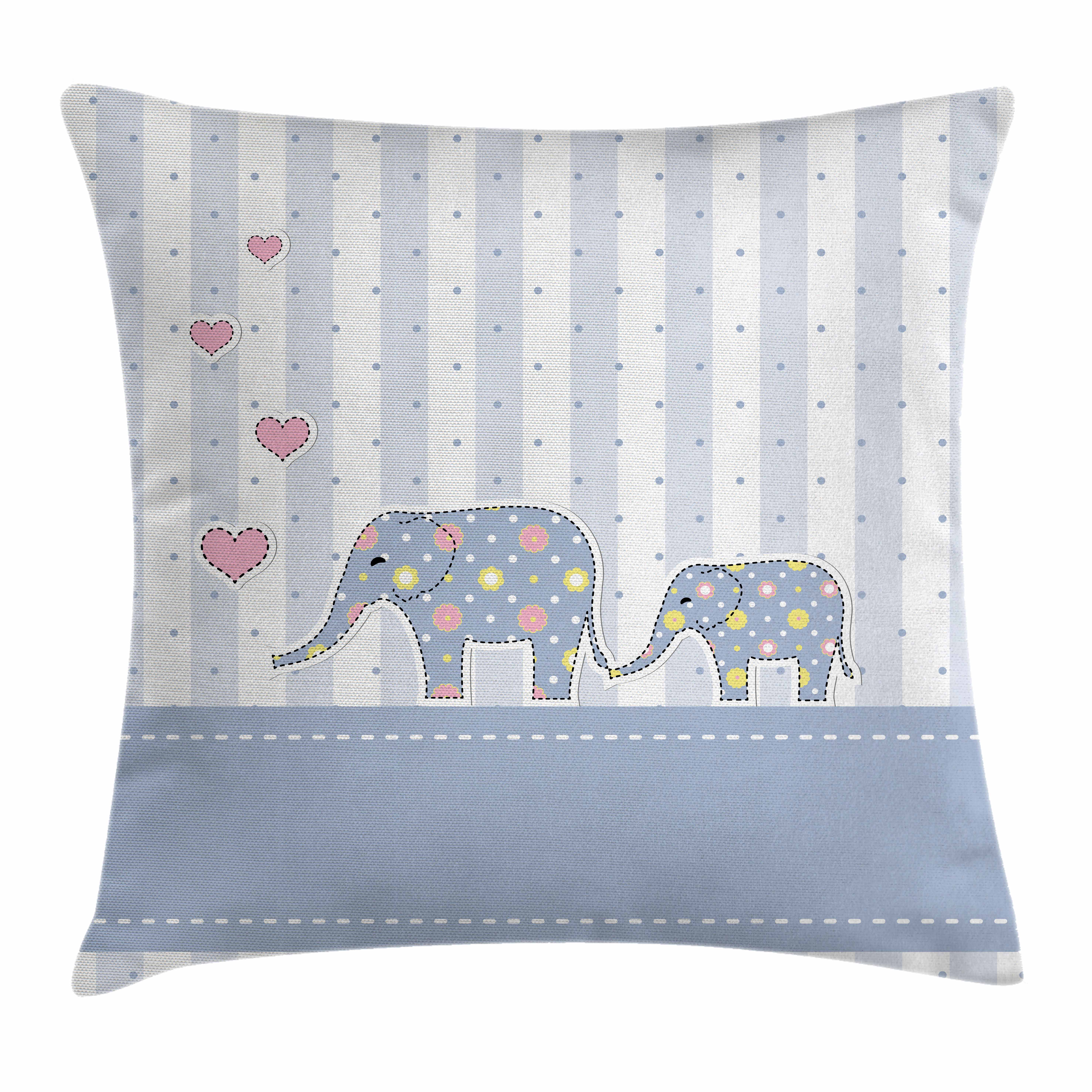 Elephant Nursery Decor Throw Pillow Cushion Cover, Baby Shower Theme Cheerful Newborn Celebration Pastel Toned Striped, Decorative Square Accent Pillow Case, 16 X 16 Inches, Multicolor, by Ambesonne