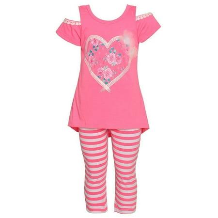 Littoe Potatoes Little Girls Neon Coral Heart Stripe 2 Pc Legging Set