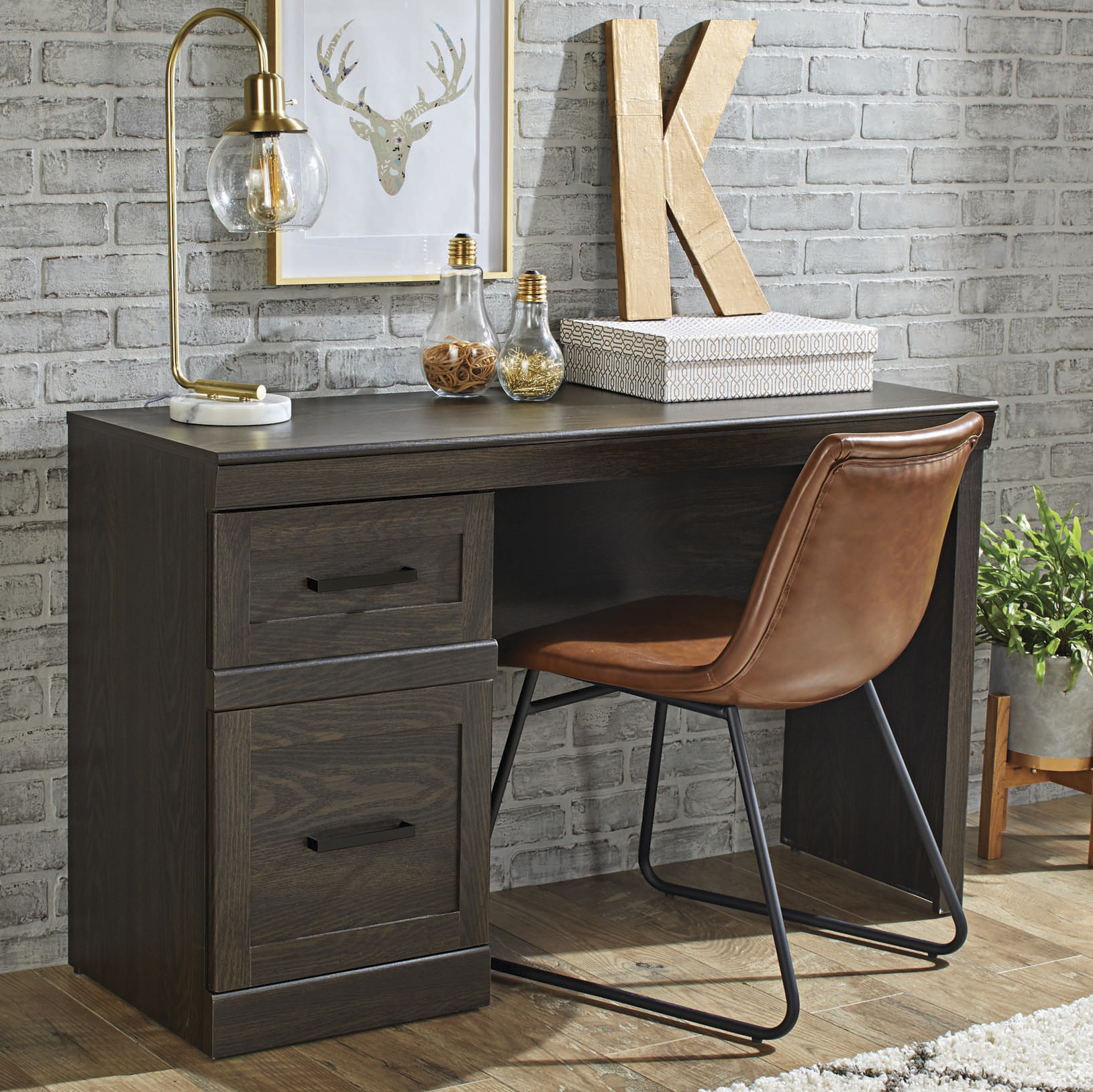 Better Homes & Gardens Glendale Transitional Desk, Dark Oak Finish