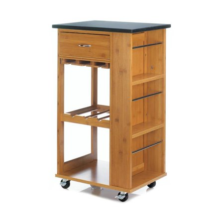 Rolling Kitchen Cart Marble Top Small Modern Table Home Mobile