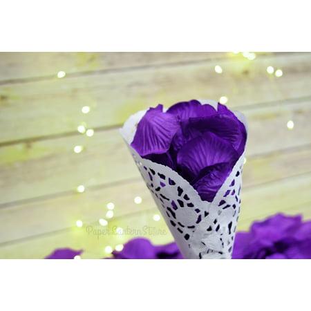 Bulls Silk - Quasimoon Dark Purple Silk Rose Petals Confetti for Weddings in Bulk by PaperLanternStore