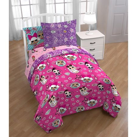 L.O.L. Surprise! 5Pc Bedding Set, Twin, Bed in a Bag with ...