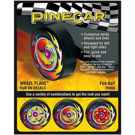 Pine Car Derby Wheel Flare Rub-On Decals