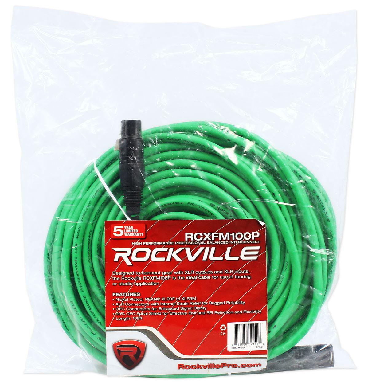 Rockville RCXFM100P-G Green 100\' Female to Male REAN XLR Mic/Speaker ...
