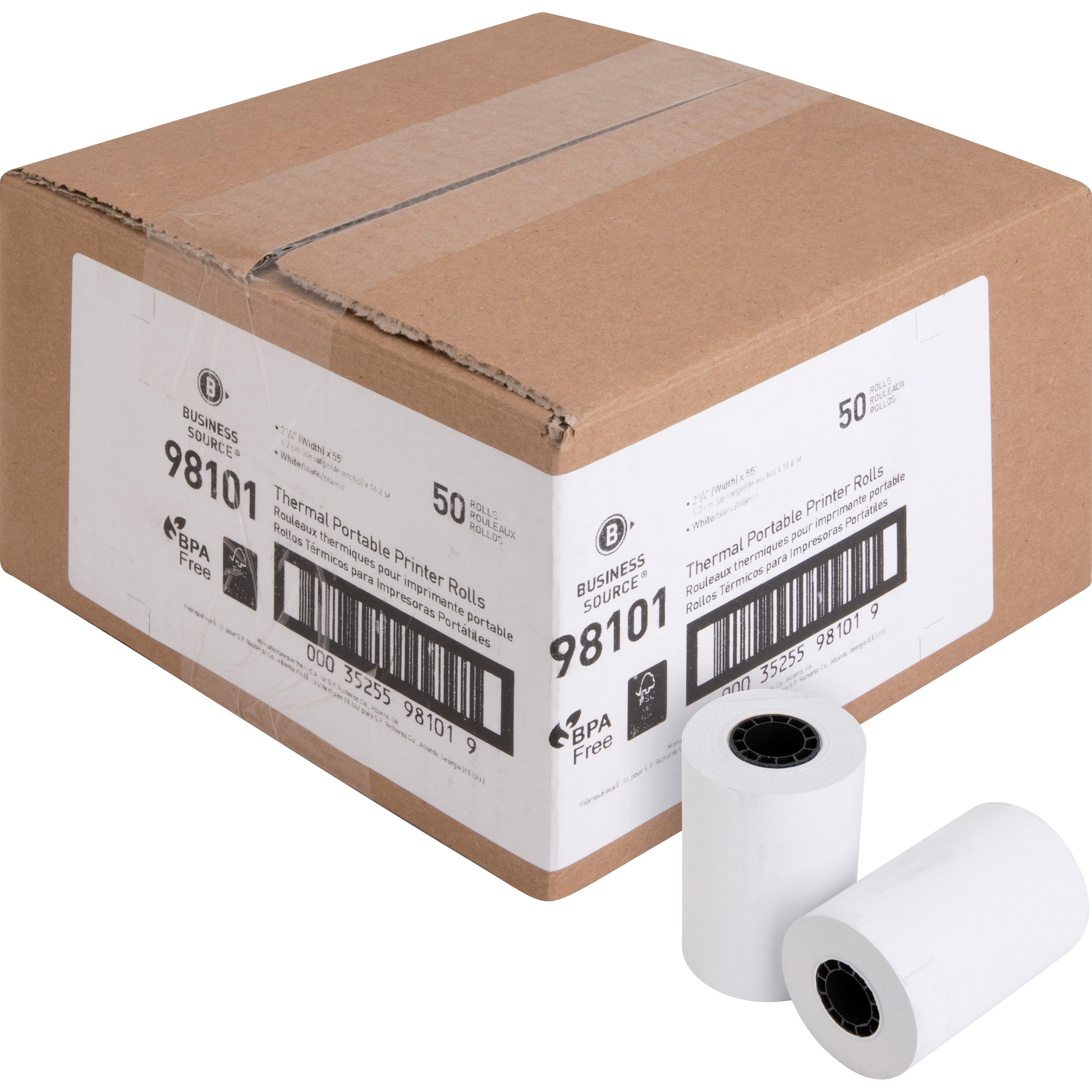 """Business Source, BSN98101, 2-1/4""""x55' POS Receipt Thermal Rolls, 50 / Carton, White"""