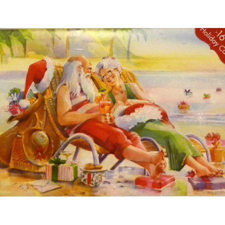 paper magic santa mrs claus relaxing on the beach christmas cards - Beach Christmas Cards