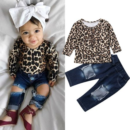 Toddler Baby Kid Girls Clothes Shirt Tops Leopard Skirt+Hole Denim Pants Outfits 9-12Moths