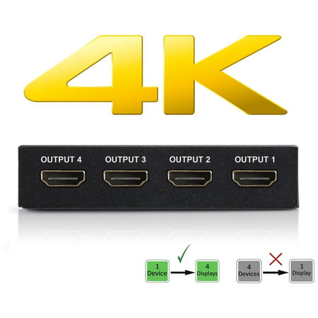 4K HDMI Splitter - 1 Input Device to 4 Displays. Save Money by Ditching Extra Cable Boxes - Powerful Signal Transfer Up to 65ft. Record & Stream Games from PS4, XBOX ONE & more