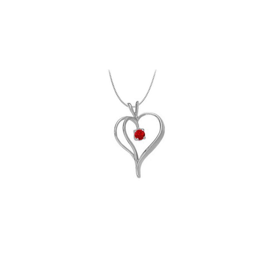 LoveBrightJewelry July Birthstone Ruby Heart Pendant in 14kt White Gold 0.33 CT TGW by Love Bright