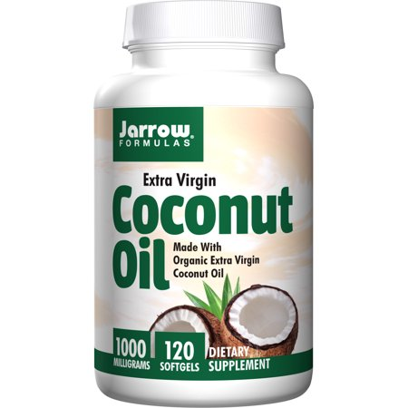 Jarrow Formulas Coconut Oil 100% Organic Extra Virgin, Supports Cardiovascular Health, 1000 mg, 120 Softgels