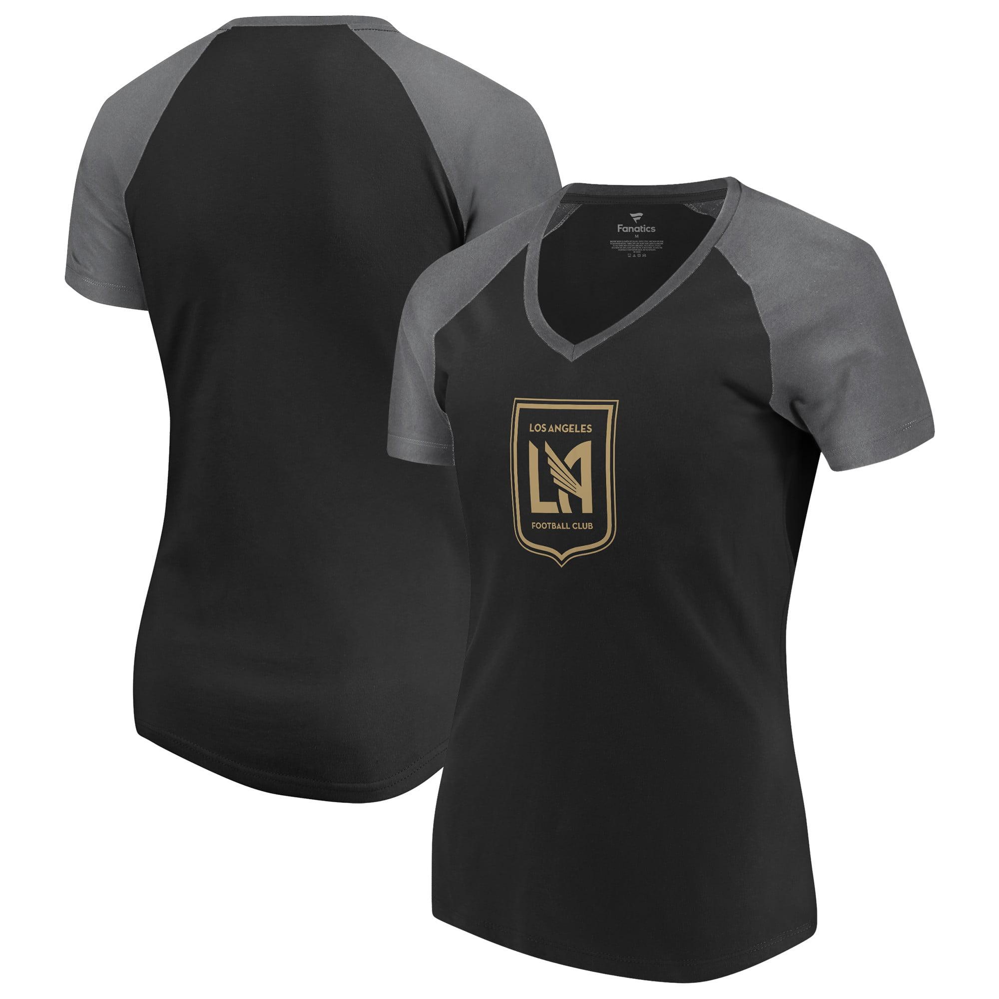 LAFC Fanatics Branded Women's Plus Size Iconic Paid our Dues Raglan V-Neck T-Shirt - Black/Gray