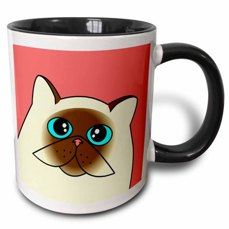3dRose The Curious Cat Himalayan with Blue Eyes Pink - Two Tone Black Mug,