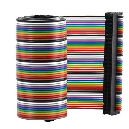 F/F 66cm 50-Pin Flat Jumper Wire Ribbon Cable Line Connector Multicolor