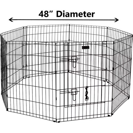 Ultimate Folding Dog Animal Pet Playpen Wire Metal 8 Panel Octagon Black Wire Enclosure Fence Exercise Popup Kennel Crate Tent Portable Gate Cage(XX-Large (Best Pet Gates For Dogs)