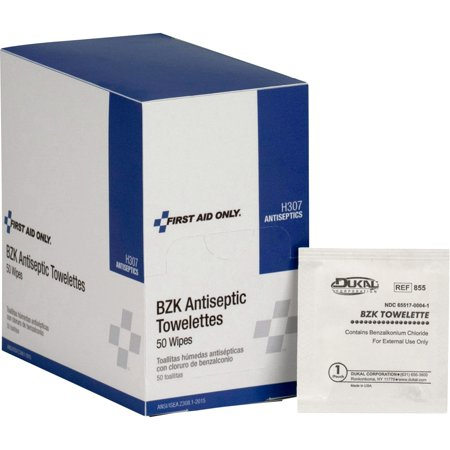 First Aid Only, FAOH307, BZK Antiseptic Towelettes, 50 / Box