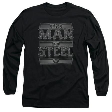 SUPERMAN/STEEL TEXT - L/S ADULT 18/1 - BLACK - LG (Clothing Ak47)