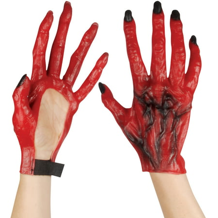 Star Power Devil Hands With Long Fingers Gloves, Red, One-Size