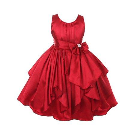 Good Girl Little Girls Red Charmeuse Pleated Ruffle Flower Girl Dress for $<!---->