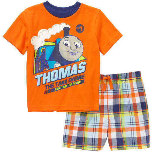 Thomas the Train Newborn Baby Boys' License Knit Tee and Woven Plaid Short 2 Piece Set