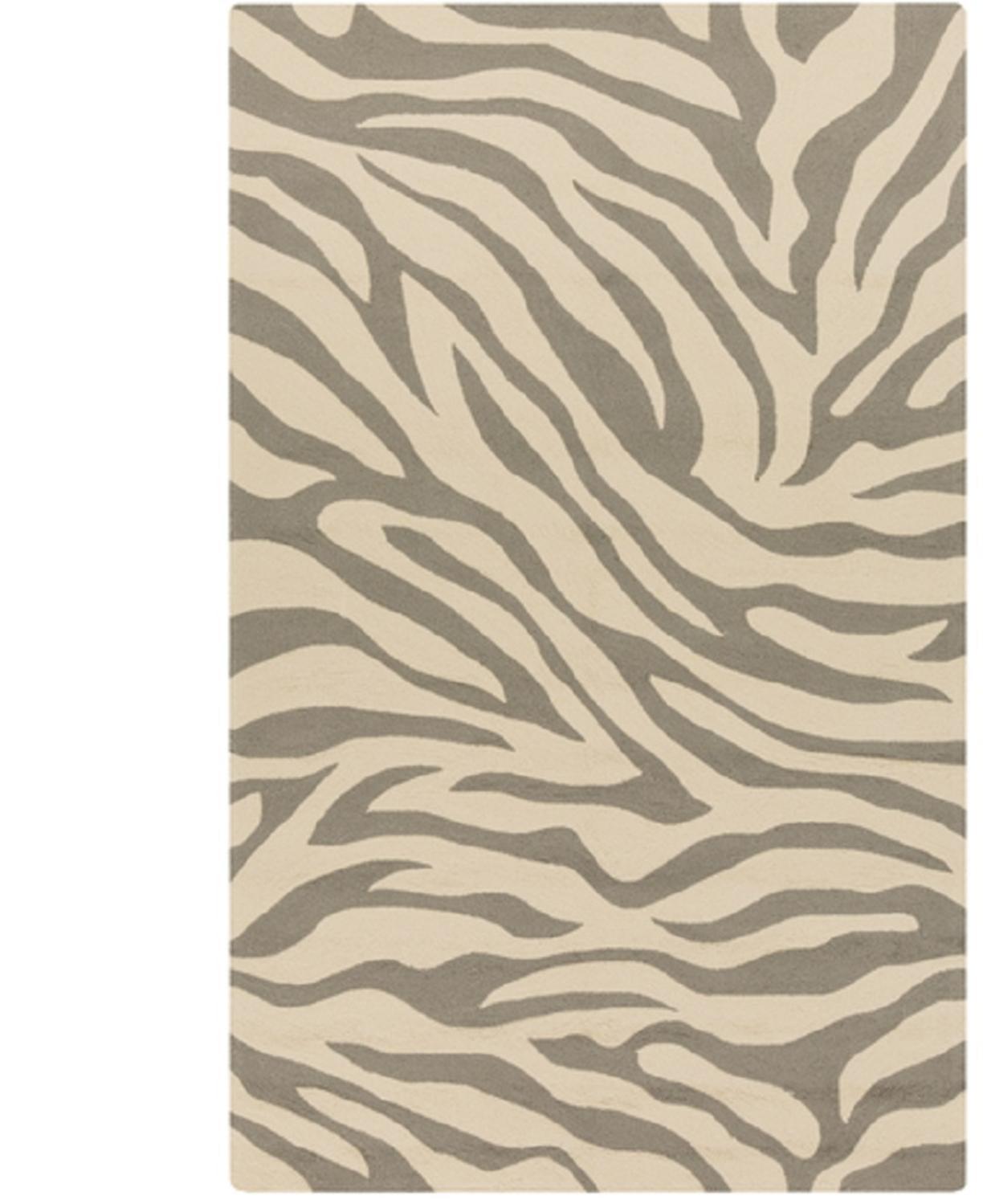 Animal Print Throw Rug: 3' X 5' Exquisite Safari Sandy Brown And Light Gray Zebra