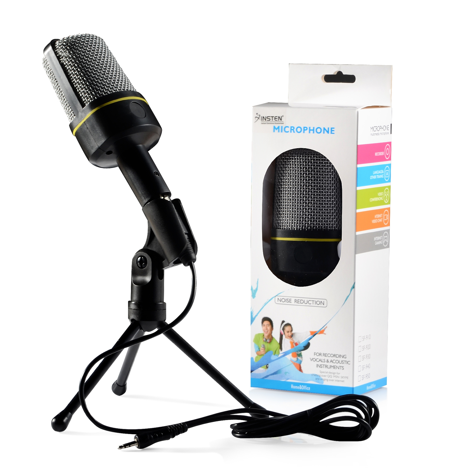 Insten 3.5mm Studio Professional Microphone Mic with Stand For Audio Sound Recording Skype Desktop PC Laptop Notebook