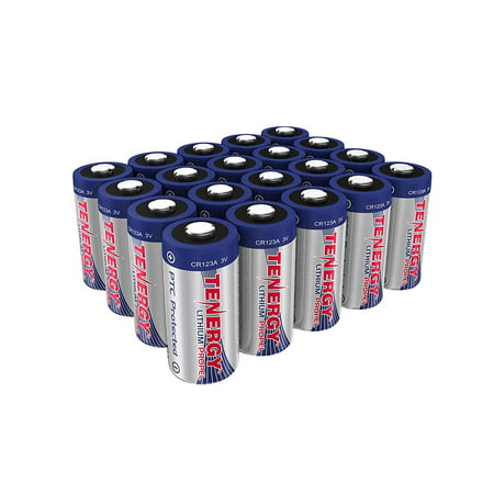 Tenergy Propel 3V CR123A Lithium Battery, High Performance CR123A Cell Batteries PTC Protected for Cameras, Flashlight Replacement CR123A Batteries, 20-Pack (Not For Arlo