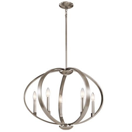 Chandeliers 5 Light With Classic Pewter Finish Steel Candelabra 27 inch 300 Watts ()