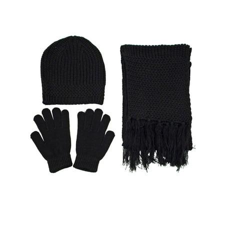 Women Men's Knit Ski Beanie, Scarf, & Gloves Set Winter - Black ()