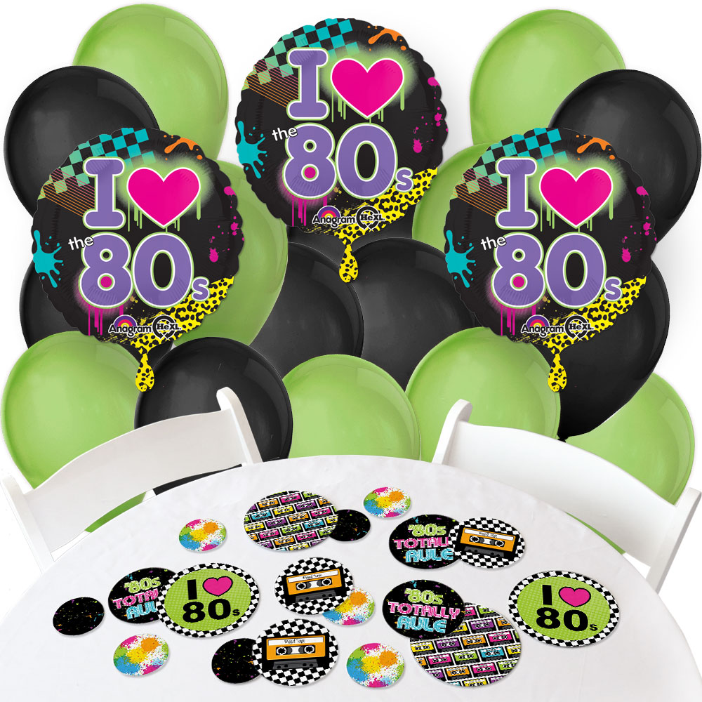 80's Retro - Confetti and Balloon Totally 1980s Party Decorations - Combo Kit