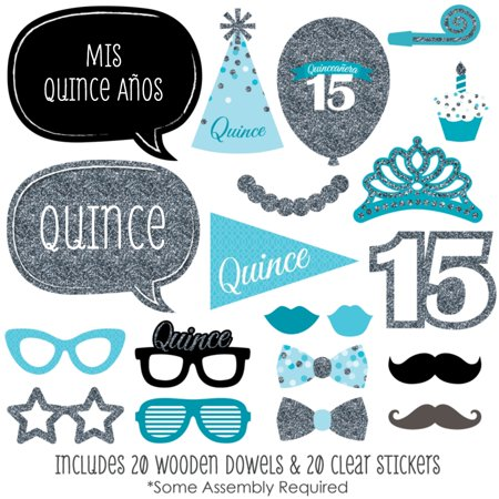 Quinceanera Teal - Sweet 15 - Photo Booth Props Kit - 20 Count - Under The Sea Quinceanera Ideas