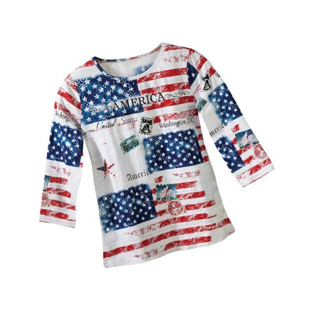 Women's All American Patriotic Flag Scoop Neck Sequin 3/4 Sleeve Top, Medium, Red Multi