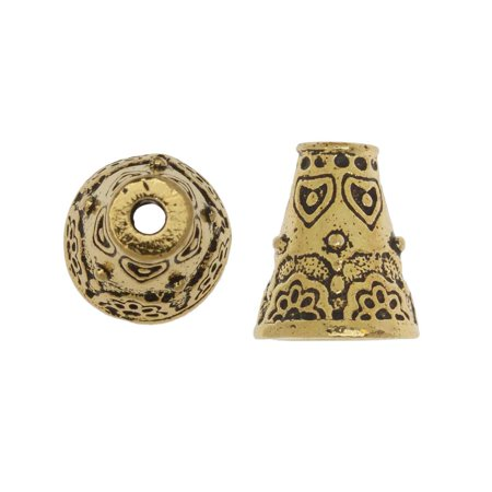 TierraCast Pewter, Beading Cone / Strand Reducer with Floral Pattern 12.5x11mm, 2 Pieces, 22K Gold Plated