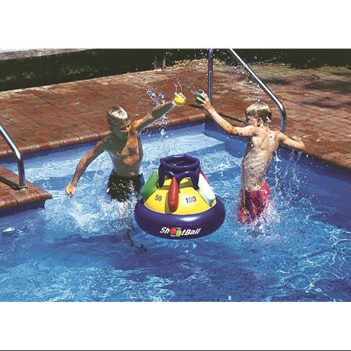 "Swimline 28"" Inflatable Multi-Port Shootball Floating Pool Game with Three Balls - Blue/Yellow"