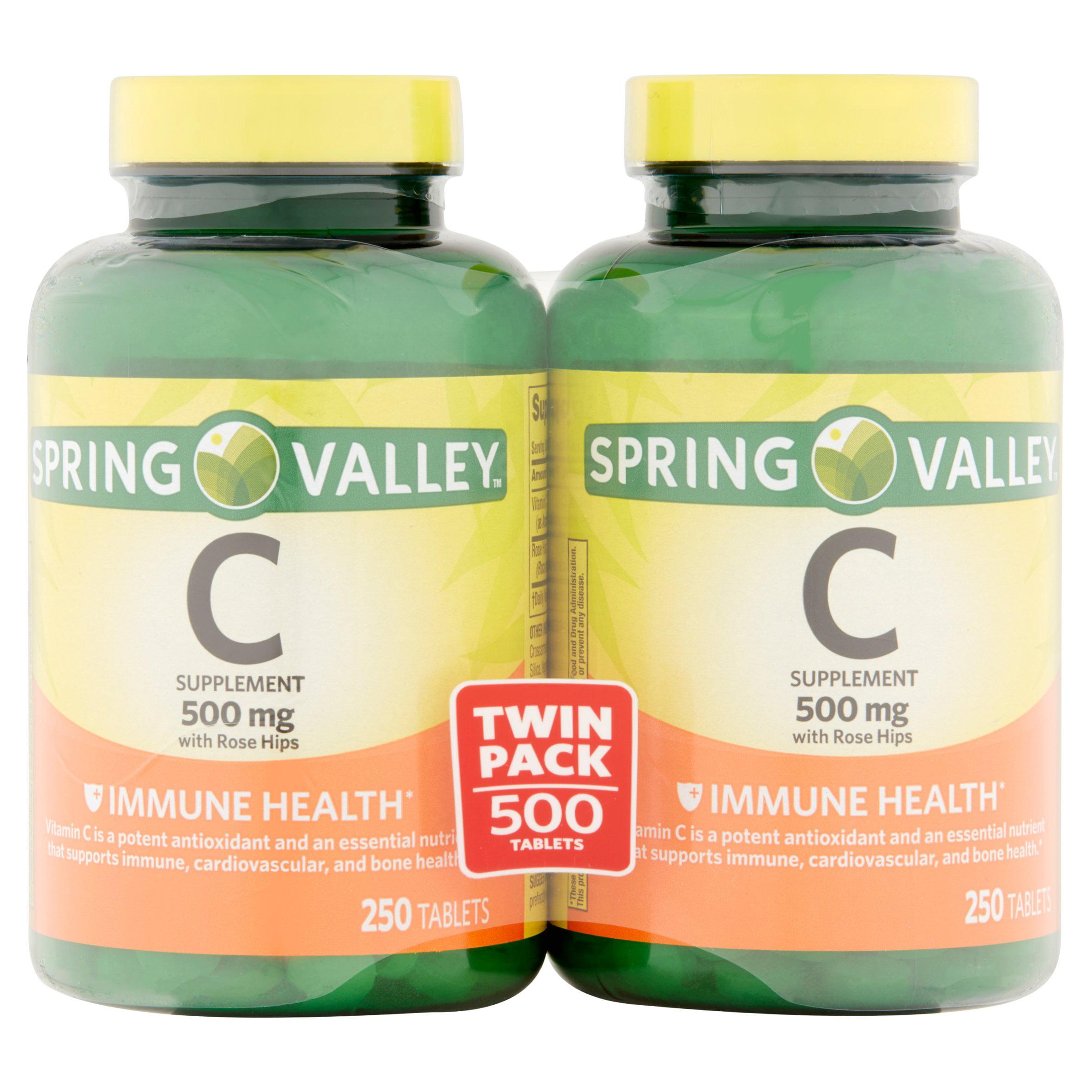 Spring Valley Vitamin C Tablets, 500 mg, 250 Ct, 2 Pk