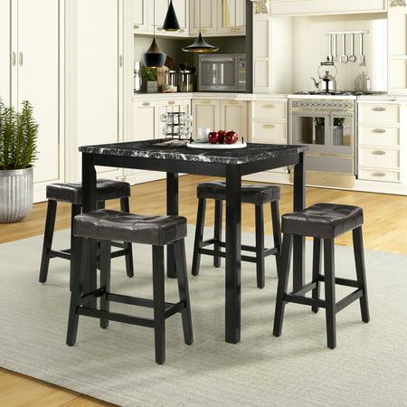 Harper & Bright Designs 5 Piece Counter Height Dining Room Set,Black ()