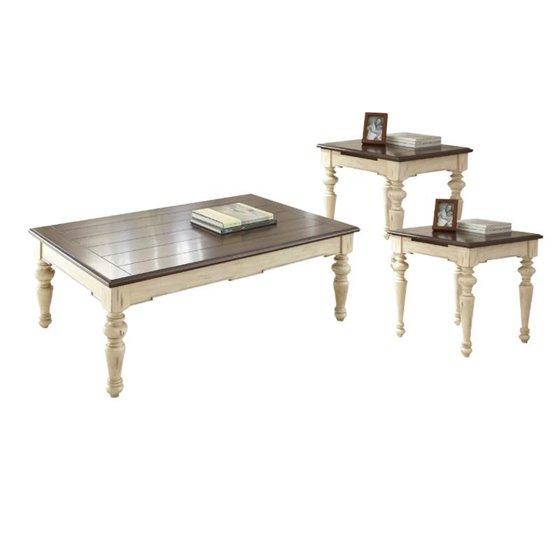 Coffee Table 3 Piece Sets.3 Piece Farmhouse Coffee Table Set With Coffee Table And Set Of 2 End Table In Walnut