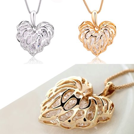 Sweet Memories Crystal Heart Necklace Treasures Of A Lifetime In Gold And Silver Plating - Not All Treasure Is Silver And Gold
