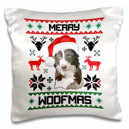 3dRose Merry Woofmas Border Collie Dog Christmas Gift - Pillow Case, 16 by 16-inch