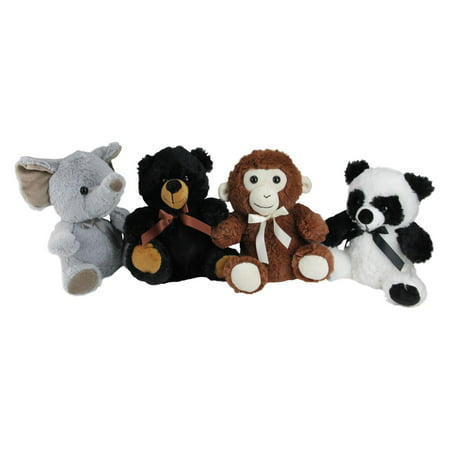 Elephant Bear - Pack of 4 Plush Sitting Bear Elephant Monkey and Panda Stuffed Animal Figures 9