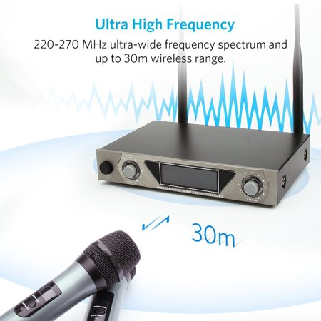 ARCHEER UHF Wireless Microphone Receiver System with 2 Cordless LCD Display Handheld Dynamic Microphones - For Outdoor Wedding Conference Karaoke Microphone Systems Party - image 1 of 9
