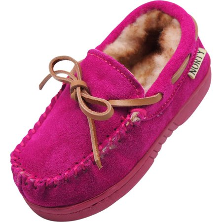 NORTY Little and Big Kids Boys Girls Unisex Suede Leather Moccasin Slip On Slippers, 40108 Magenta / 3MUSLittleKid (Glass Slippers For Girls)