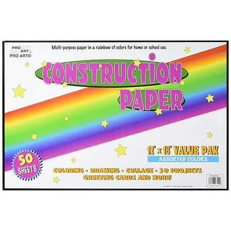 Pro Art Large Construction Paper 50 Assorted Colors Sheets Per Pack, 12