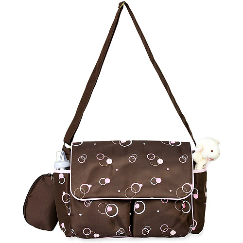 George - Messenger Diaper Bag, Brown/Pink