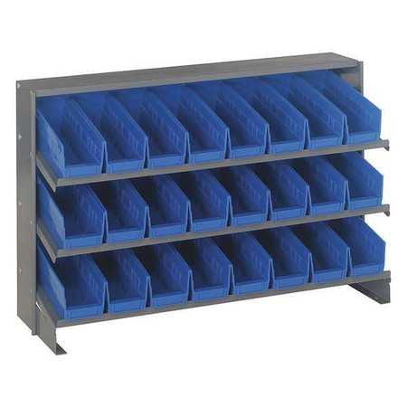 Sloped Shelving System, 12Dx36Wx23H, Blue QUANTUM STORAGE SYSTEMS QPRHA-101BL
