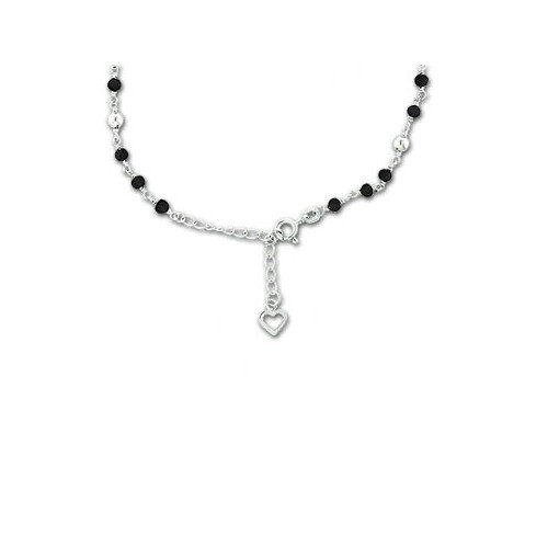 Sterling Essentials Sterling Silver Black Onyx 9 inches Anklet