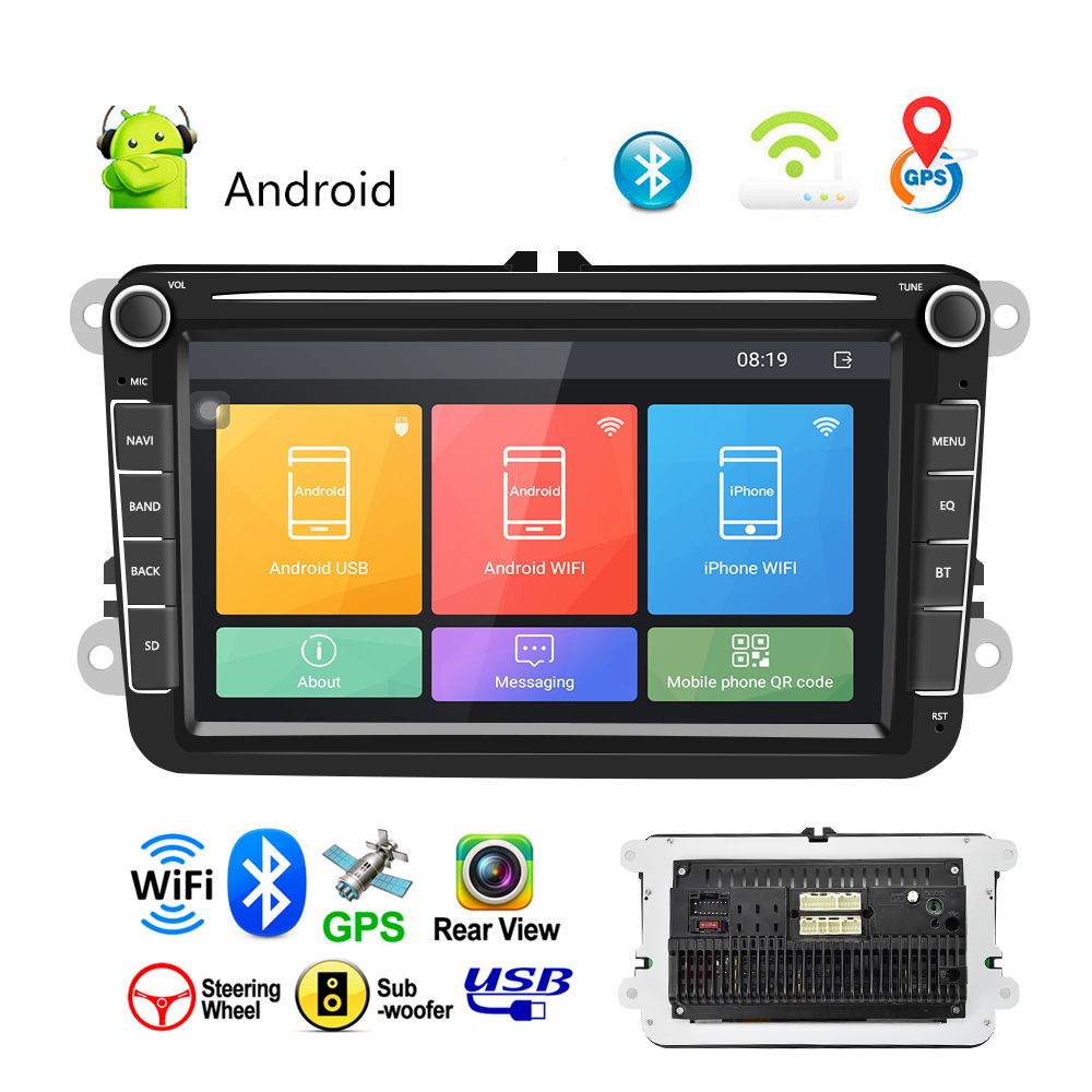 """7/"""" Touch Screen Android 8.1 Car Stereo MP5 Player GPS Navi WiFi USB FM AM w//Cam#"""