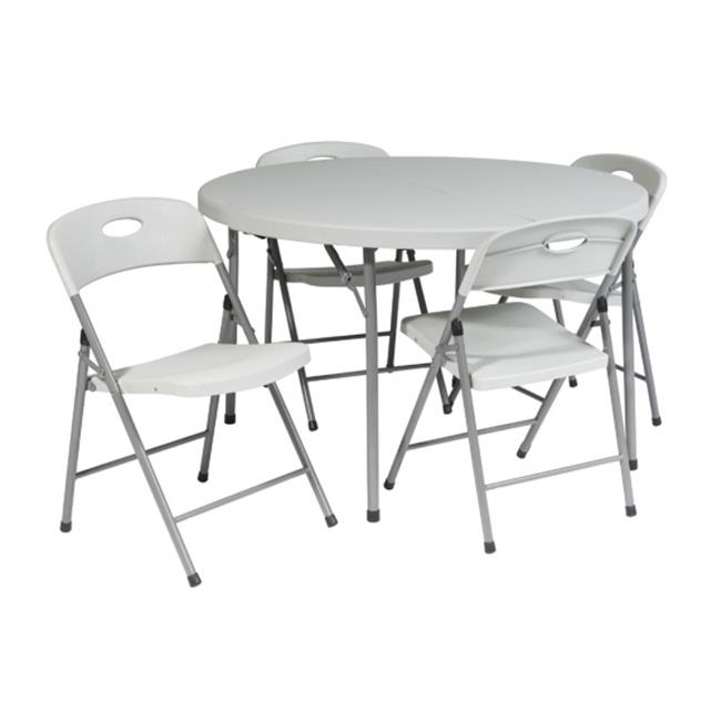 Avenue 6 Office Star QT6173-05 5 Piece Folding Set - 4 chairs and 48 in. Round fold in half table