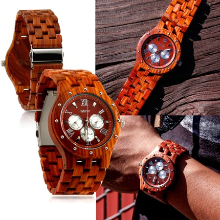 Oct17 Luxury Men's Wooden Wood Watch Analog Quartz Day Date Calendar Bamboo Movement Watches with (Calendar Watch)
