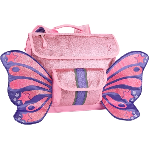 Bixbee Sparkalicious Kids Glitter Pink Butterflyer Backpack - Small - Patented Horizontal Design with Ergonomic Attributes - Plenty of Space - Comfortable On Kid Shoulders with Cushy Padding - Interio